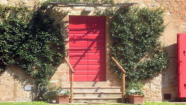 Typical red door of the Maremma