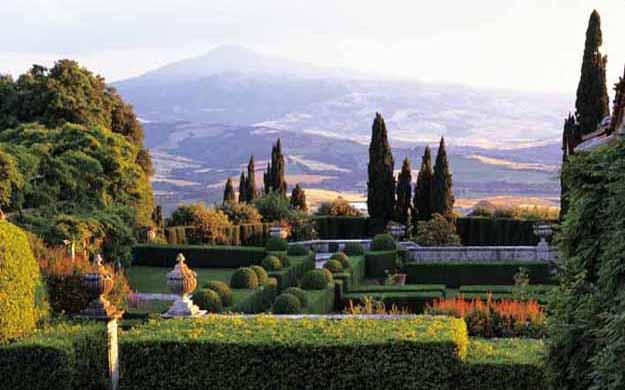 La Foce Garten und Orcia Tal in der Toskana