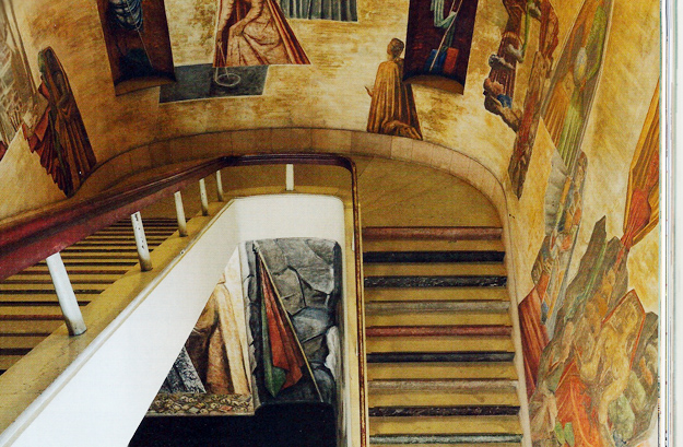 """The walls of the """"Stairway of Knowledge"""" were frescoed by Giò Ponti."""