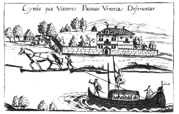 Burchiello pulled by horses 1591