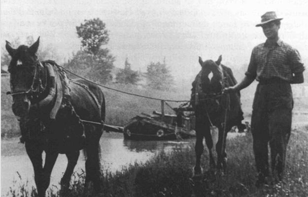 Horses pulling boat on brenta beginning 20th century