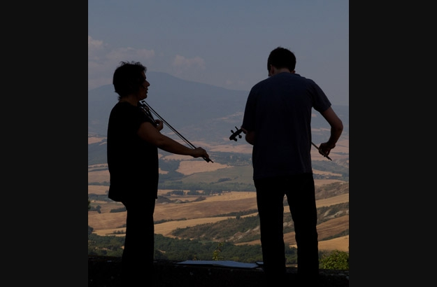 Violinists practicing