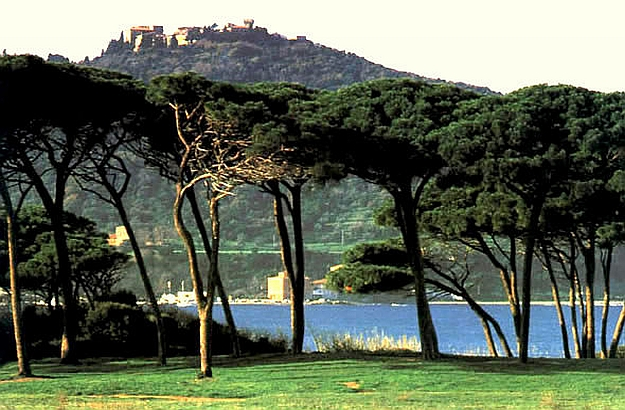 Golf of Baratti and town of Populonia on hilltop