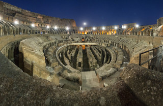 Inside the magnificent Roman Colosseum, at nightfall.  ©Dorli Photography