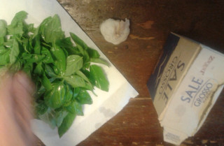 A bird's eye view of the basil leaves, the salt and the clove of garlic.