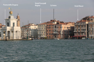 The sumptuous building is located at the mouth of Venice's Grand Canal.