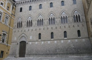 Remodelled in the 19th century, the Palazzo Salimbeni's neogothic façade.