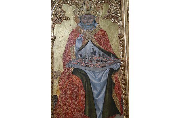 Dieses Gemälde der Stadt der Türme hängt im Palazzo Comunale.