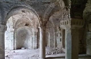 The stunning Romanesque crypt of the Abbazia di San Salvatore di Giugnano.