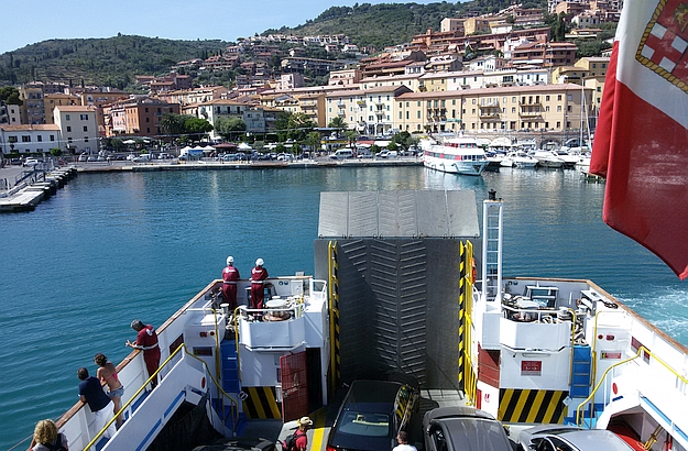The ferry takes you from Porto Santo Stefano to Giglio in about an hour.
